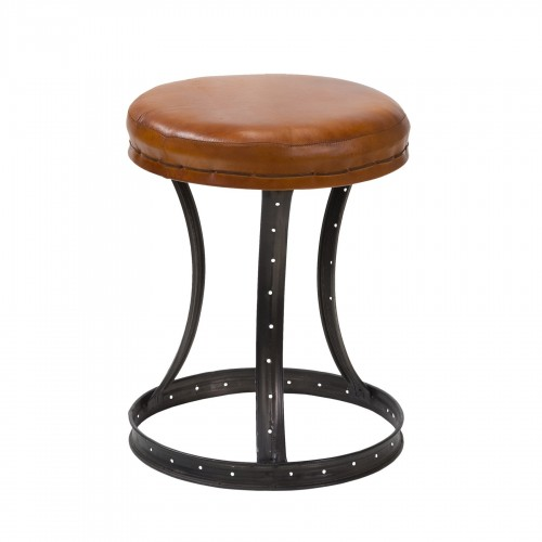 Camel leather stool