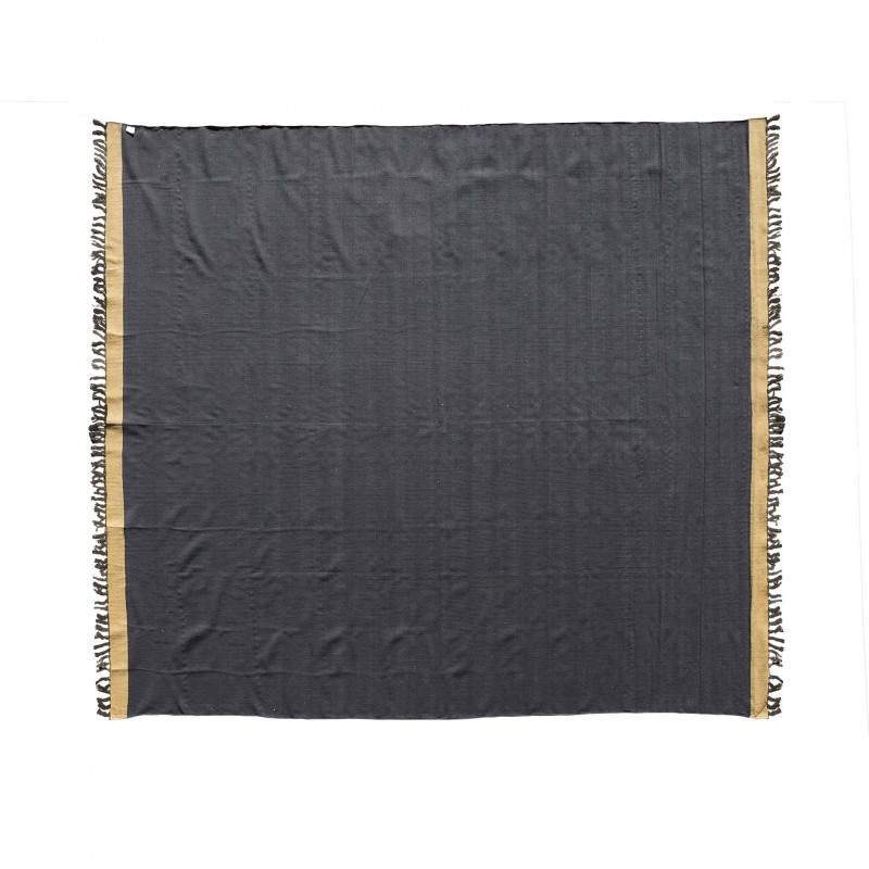 285x270cm Black and beige durrie