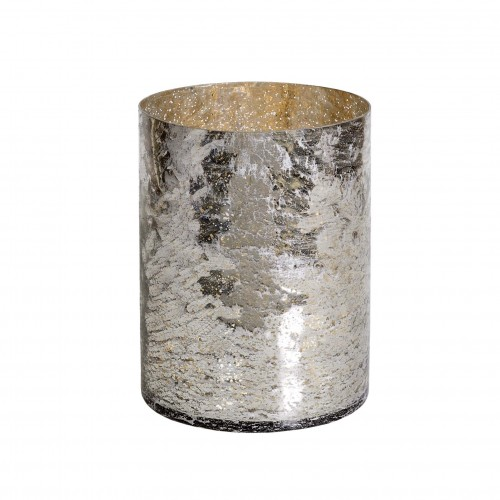 Medium silver glass flowerpot