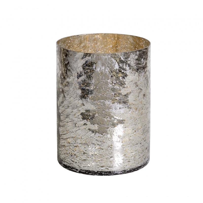 Florero de cristal plateado mediano - BECARA