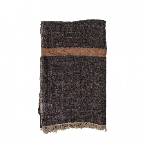 180x130cm black and brown throw