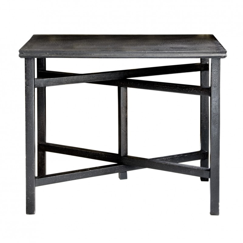 Caviar finish side table with crossed legs