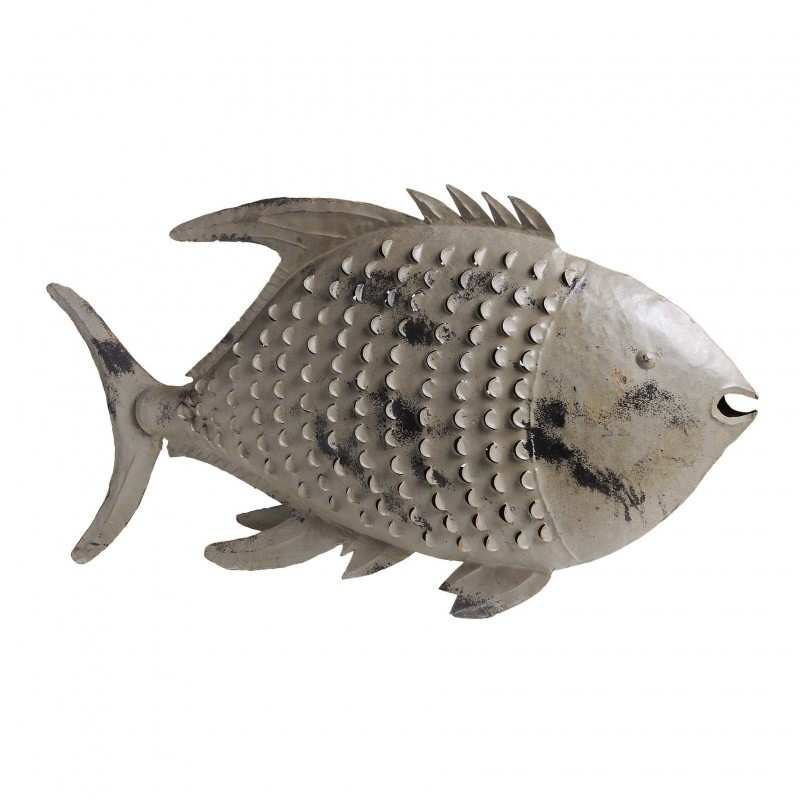 Grey fish candle holder