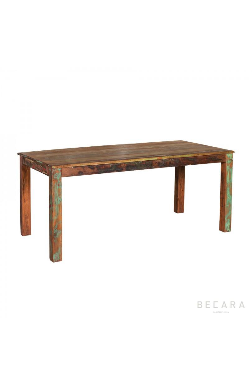 Mesa de comedor de colores de madera de reciclada for Colores de muebles de madera