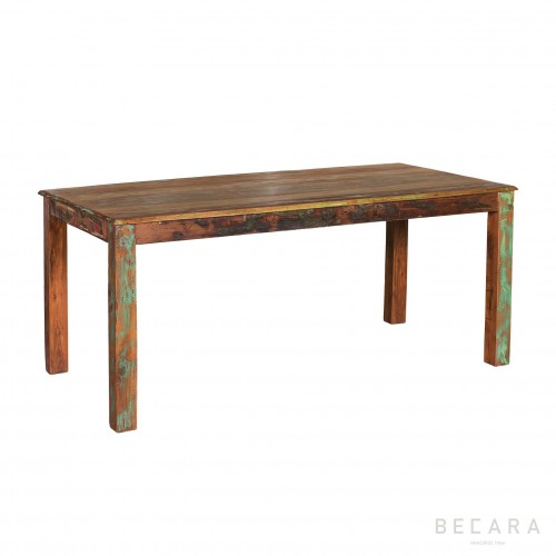Coloured recycled wooden dinning table