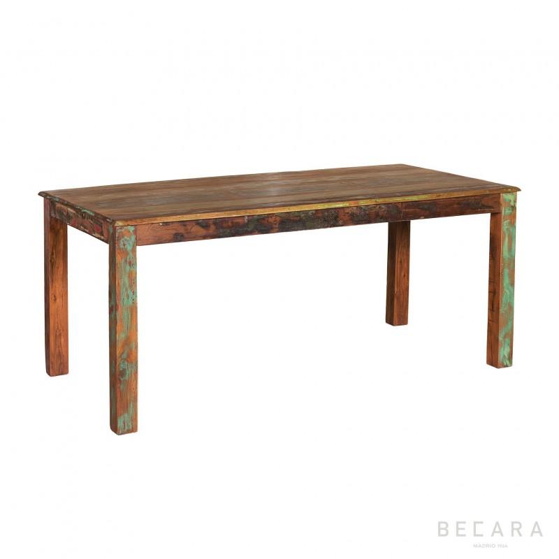 Mesa de comedor de colores de madera de reciclada - BECARA