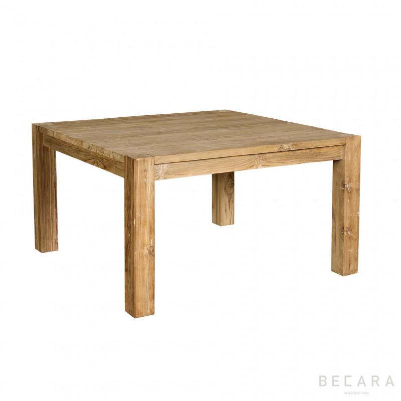 Mesa de comedor de teca cuadrada - BECARA