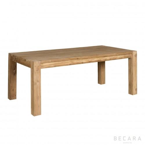 Mesa de comedor de teca rectangular