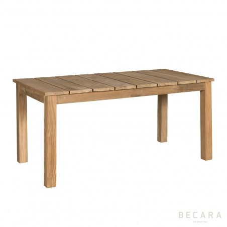 Mesa de comedor de teca rectangular con tablas