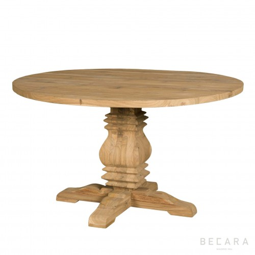 Mesa de comedor redonda de teca - BECARA