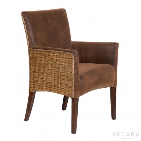 Brown leather Bilbao armchair