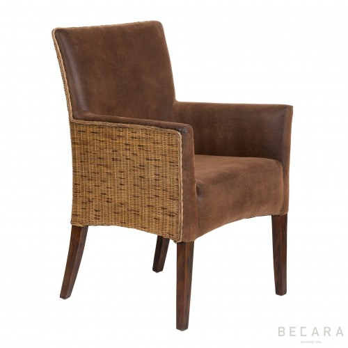 Brown leather Bilbao armchair