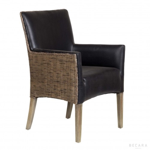 Black leather Bilbao armchair