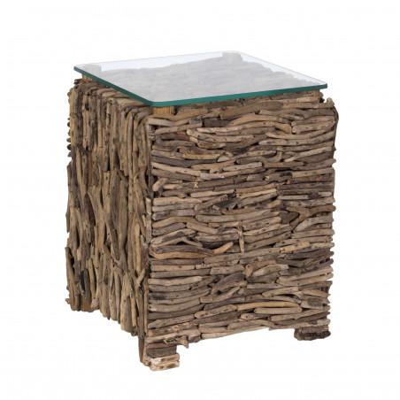 Mesa auxiliar de palos de madera y cristal
