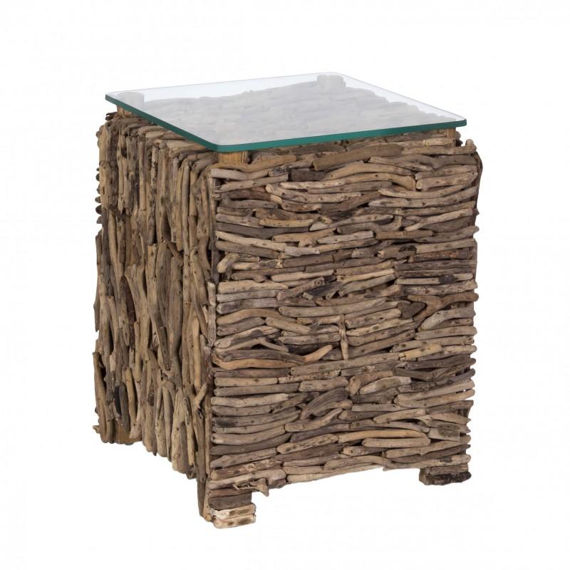 Mesa auxiliar de palos de madera y cristal - BECARA