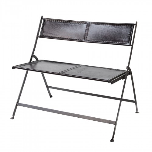 Black leather and iron folding bench