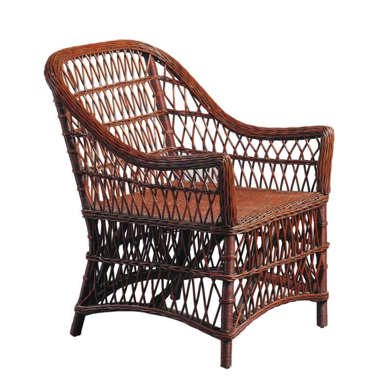 Red wicker armchair