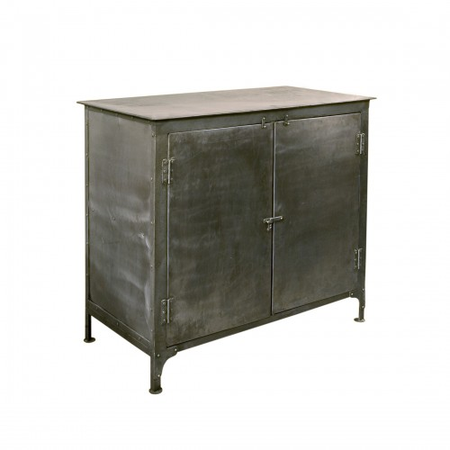 Polished sideboard with steel sheets