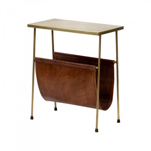 Side table with leather magazine rack