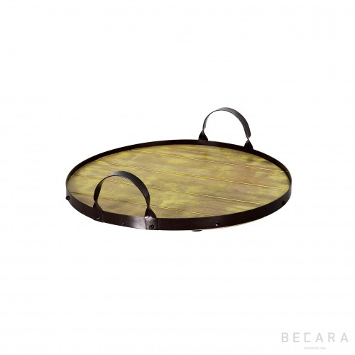 Round metal tray with yellow wooden bottom