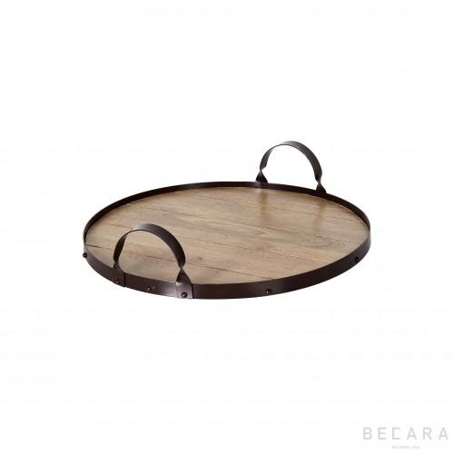Bandeja de metal redonda con fondo de madera natural - BECARA