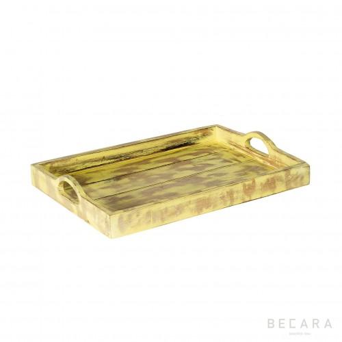 Bandeja de madera amarilla