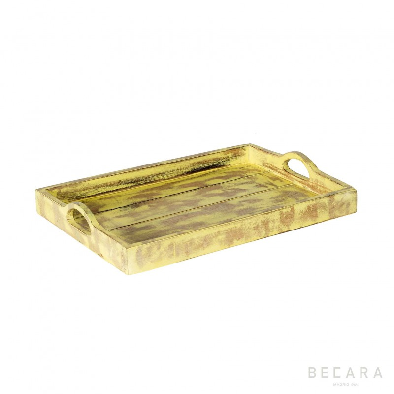 Yellow wooden tray