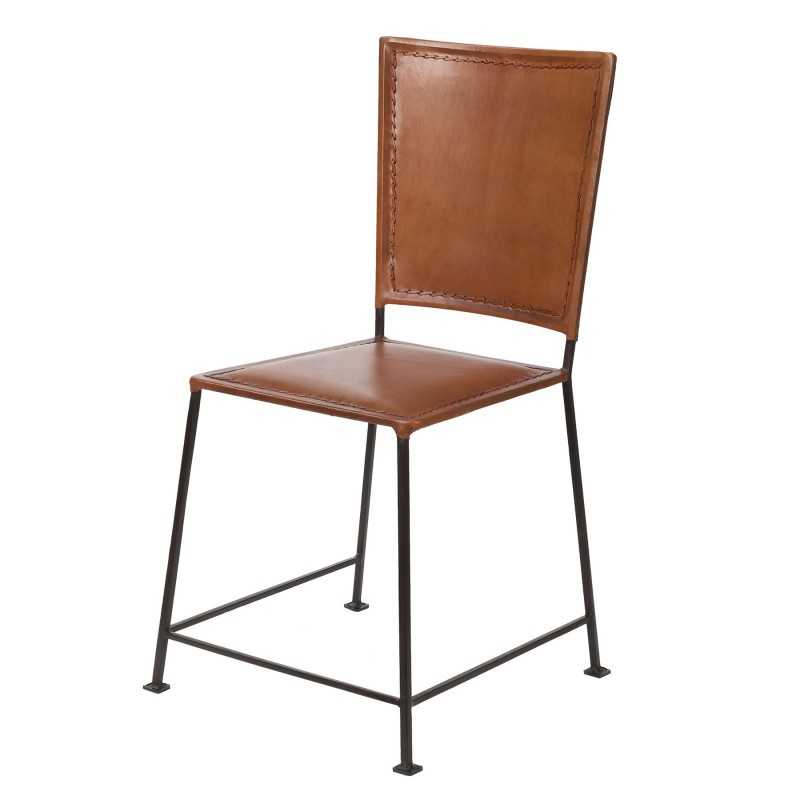 Brown leather and iron stackable chair