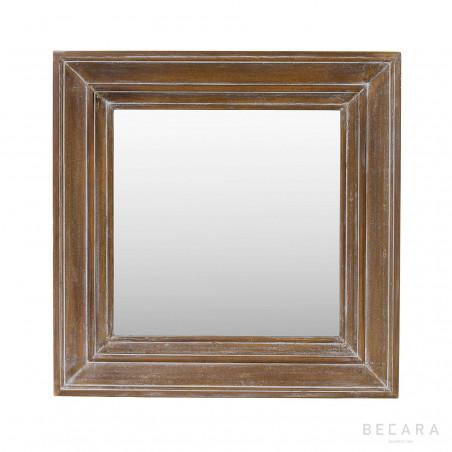 Espejo cuadrado de madera 90x90cm