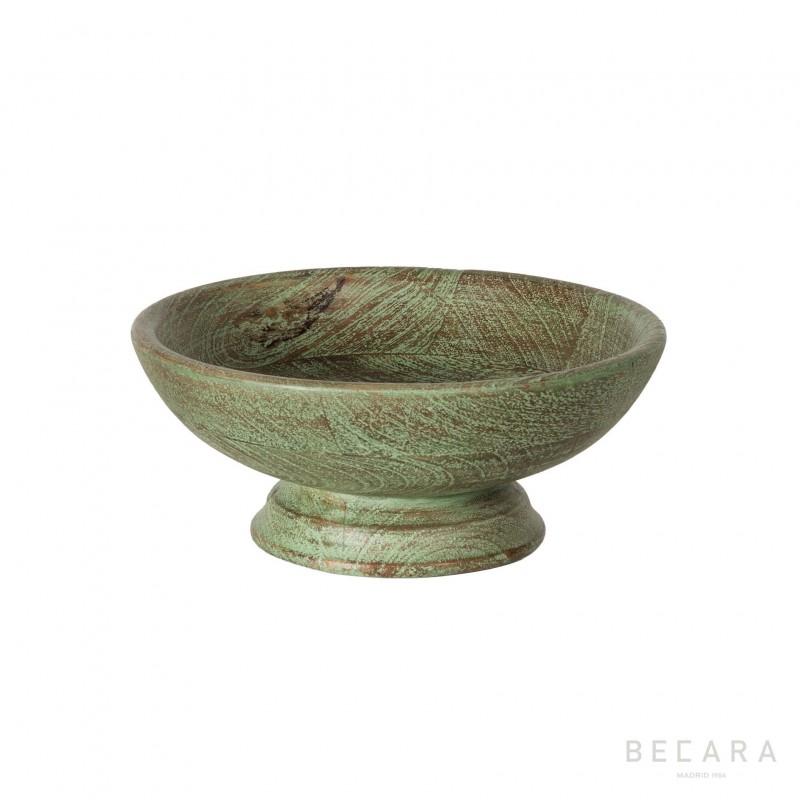 Ø25cm green wooden bowl