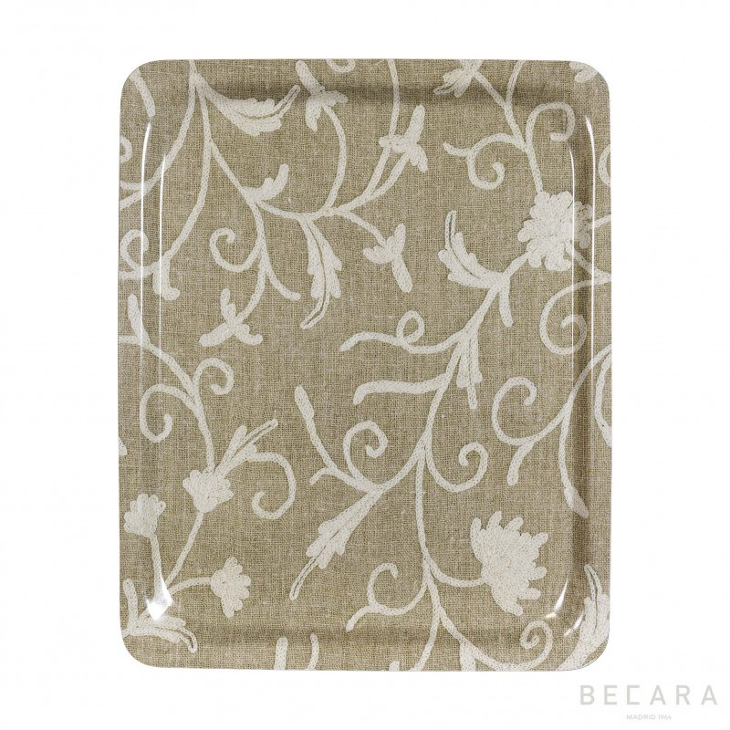 Large beige floral tray