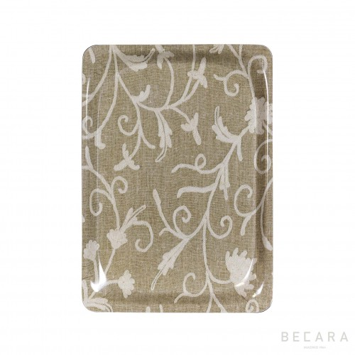 Small beige floral tray