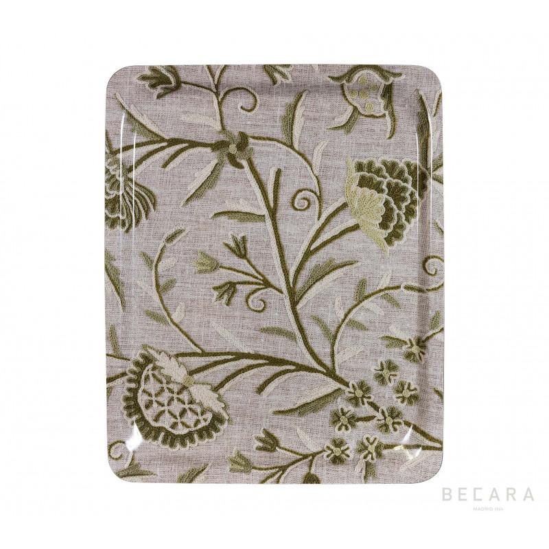 Bandeja floral gris y verde grande - BECARA