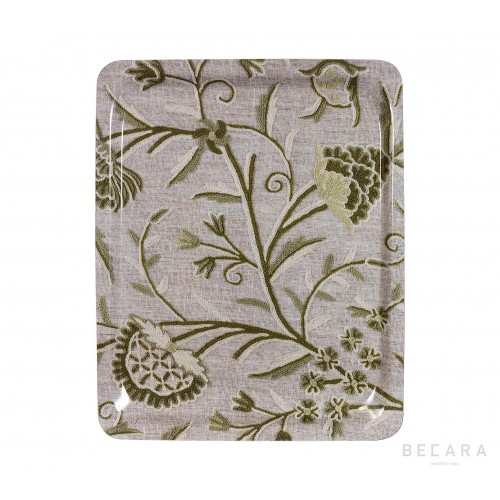 Big grey and green floral tray