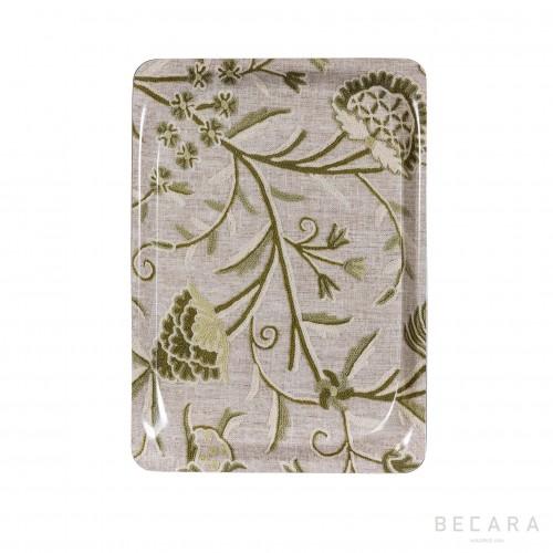 Bandeja floral gris y verde pequeña