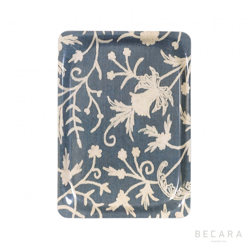Small beige and blue floral tray