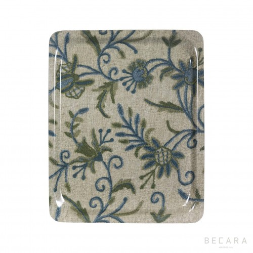 Big green and blue floral tray