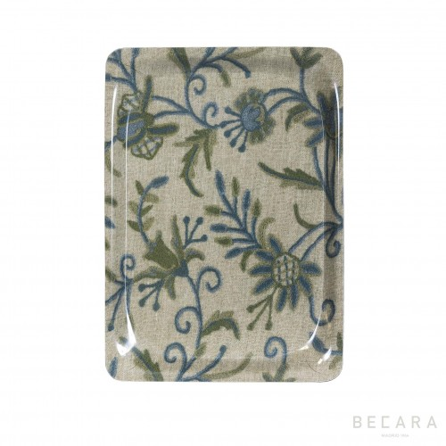 Small green and blue floral tray