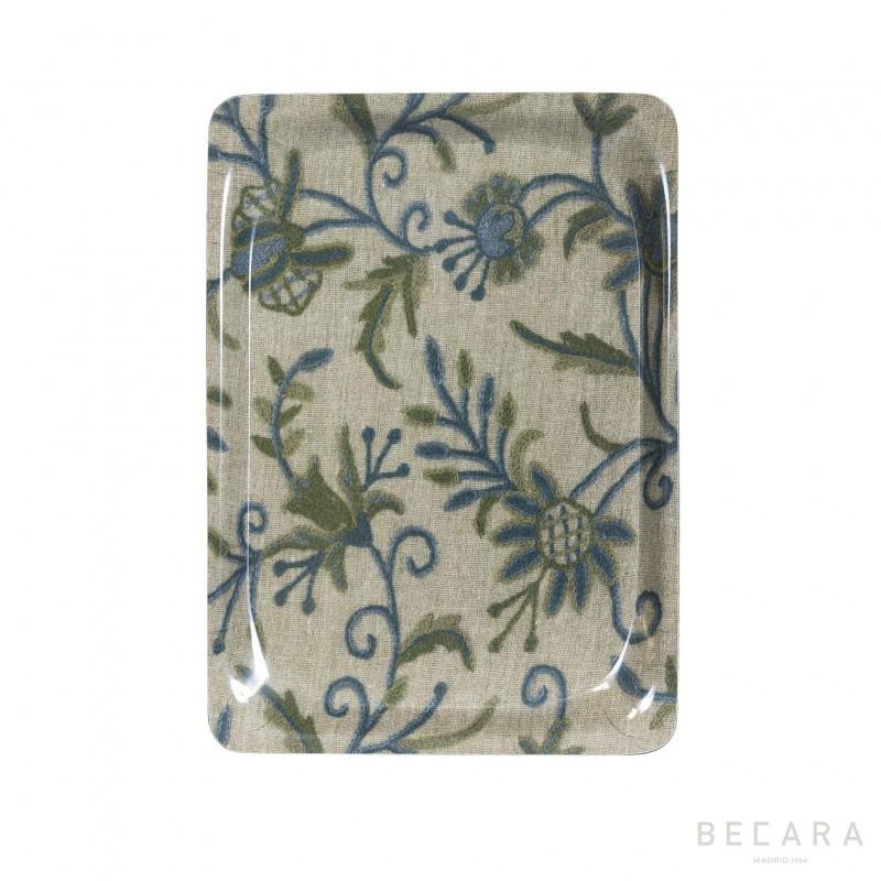 Bandeja floral verde y azul pequeña - BECARA