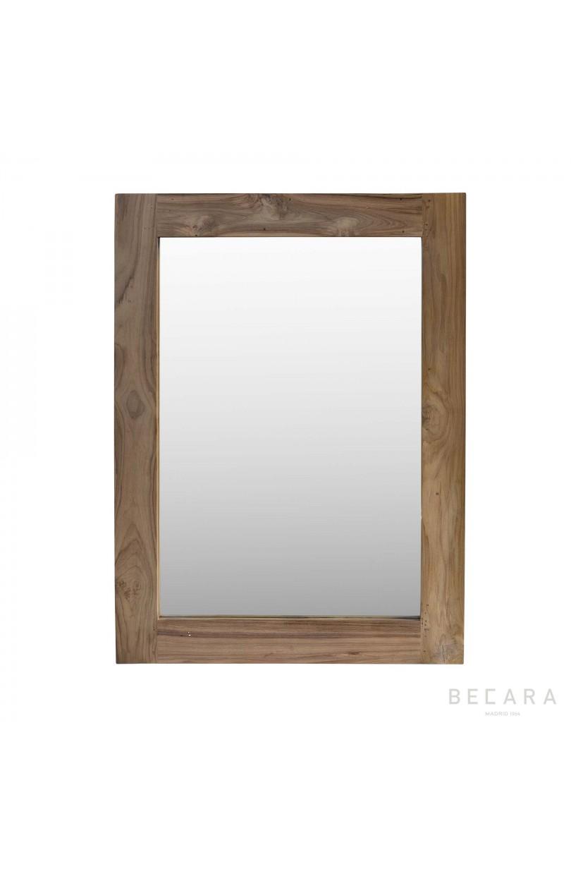 Espejo de teca 90x120cm espejos y cuadros en becara for Espejo 120 x 50