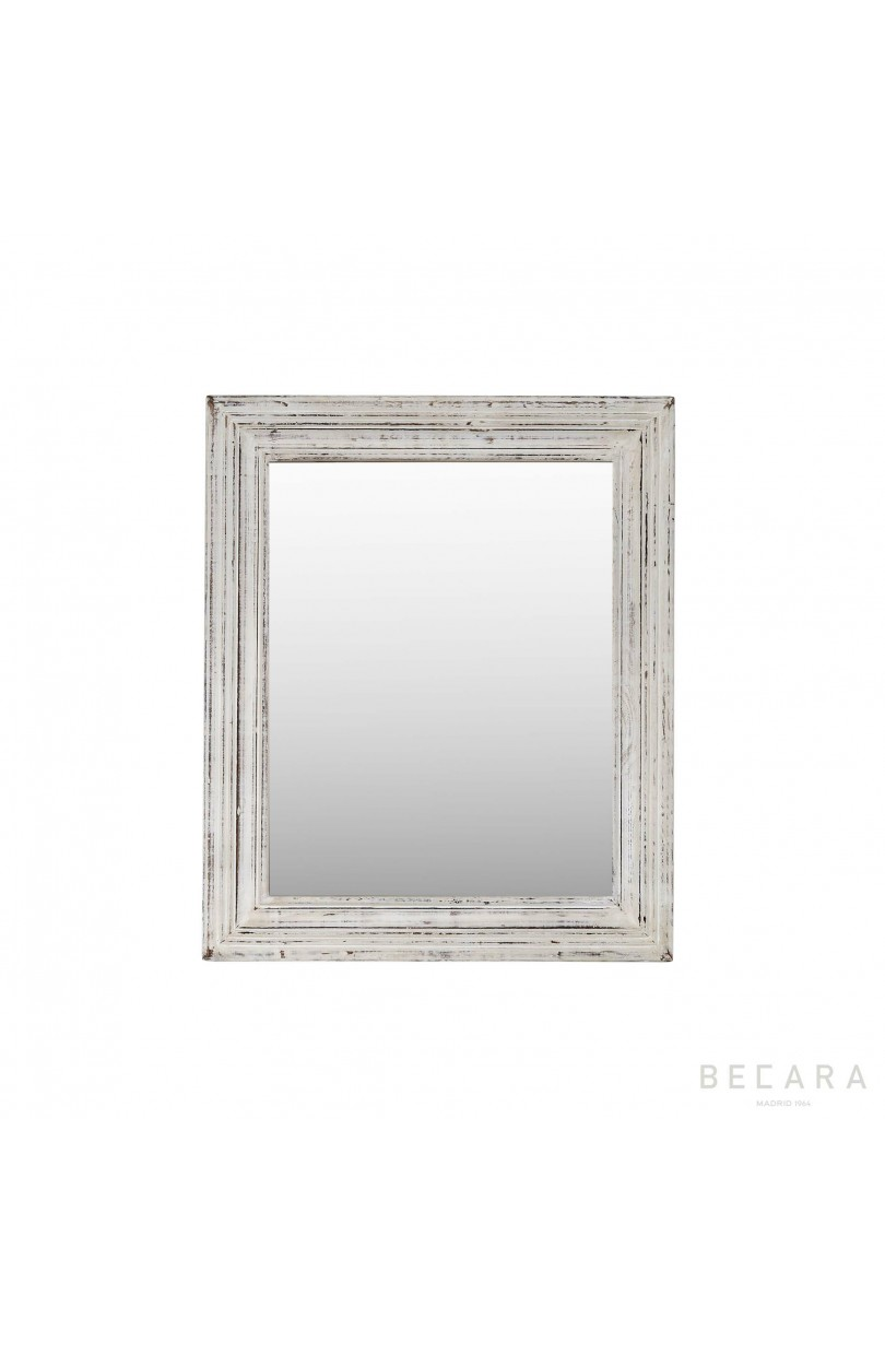 Espejo madera blanco 64x53 cm espejos y cuadros en becara for Espejo madera blanco
