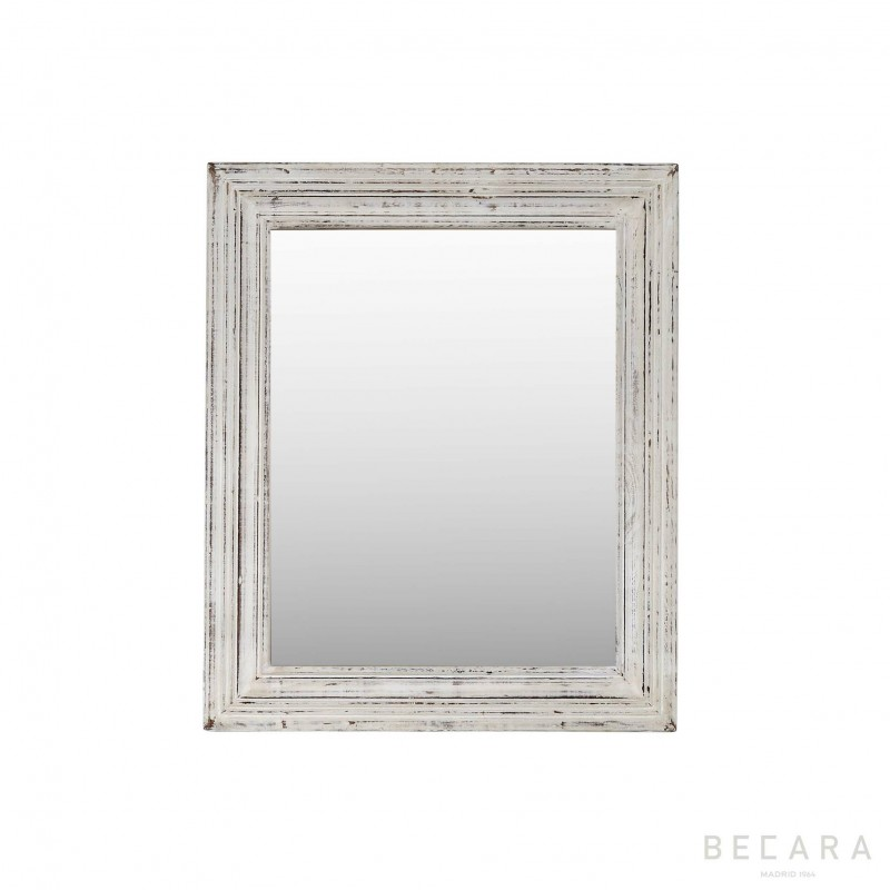 53x64cm white wooden mirror