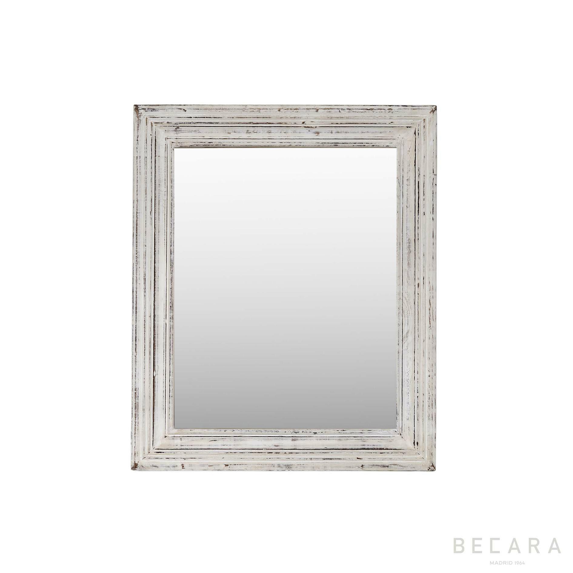 Espejo de madera blanca 53x64cm - Espejos en BECARA