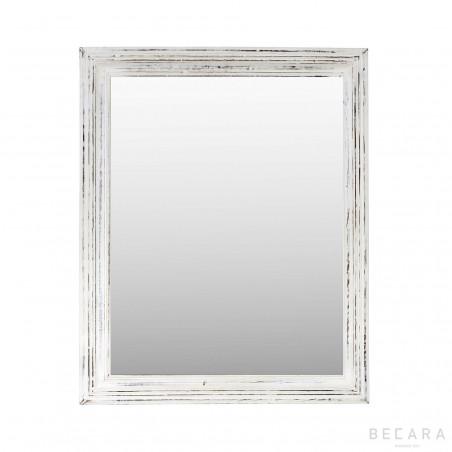 68x84cm white wooden mirror