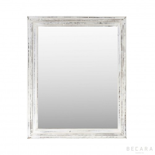 68x84cm white wooden mirror