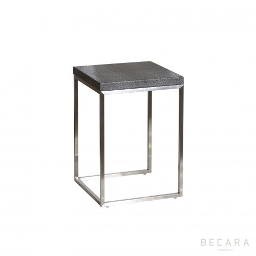 Metal side table with shagreen finish