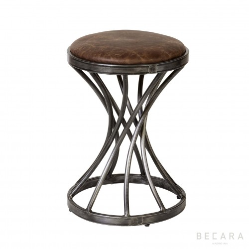 Brown leather stool