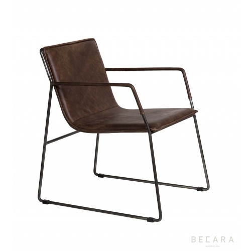 Brown leather Alfred armchair