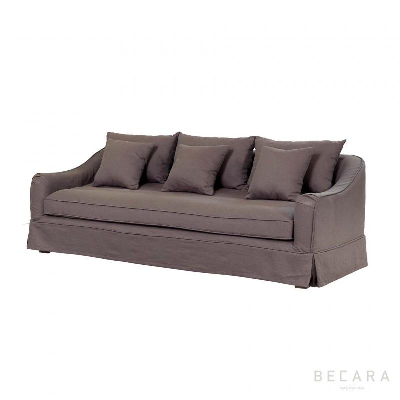 Sofá Agatha lino marrón - BECARA