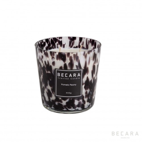 11,5cm white and black Carey candle